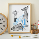 Whale Screen Print Wall Art Large (A3)