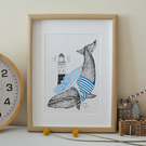 Whale Screen Print Wall Art  Small (A4)