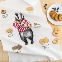 Mr Badger Loves Biscuits Tea Towel