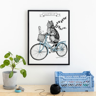 Cycling Cat Print 'Pascal The Cat' Illustration Silk Screen Printed Wall Art