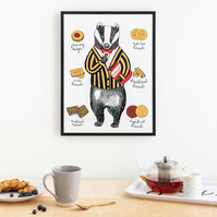 Mr Badger Print Large (A3)