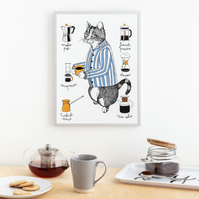 Cat with a Coffee Print Large (A3)