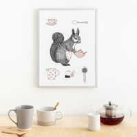 Squirrel Tea Time Wall Art Large (A3)