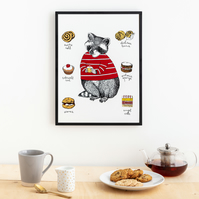 Cute Raccoon with Cakes Print Large (A3)