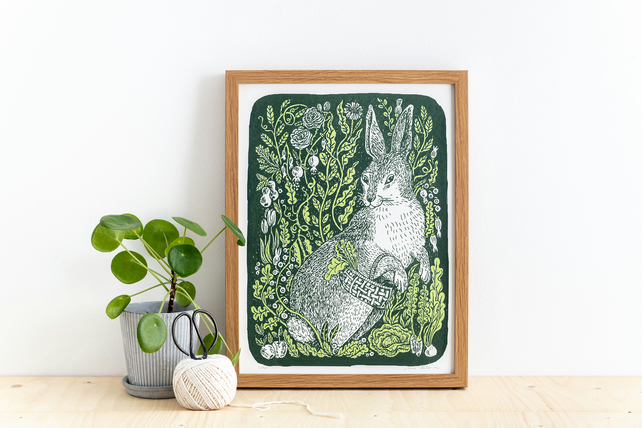 Hare in the Garden Screen Printed 2 Colour Illustration
