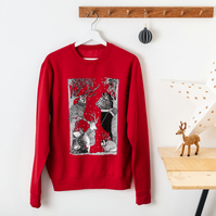 Christmas Jumper Silk Screen Printed Woodland Animals Unisex Sweatshirt