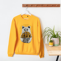 Yellow Bear Jumper Silk Screen Printed 'Bear with Sunflowers' Unisex Illustrated