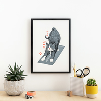 Cat Screen Print 'Be More Cat'