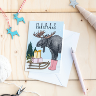 Christmas Moose Greeting Card