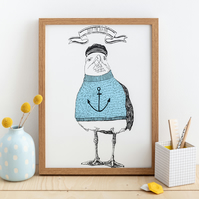 Seagull Screen Print 'Billy The Sea Dog' 2 Colour Wall Print