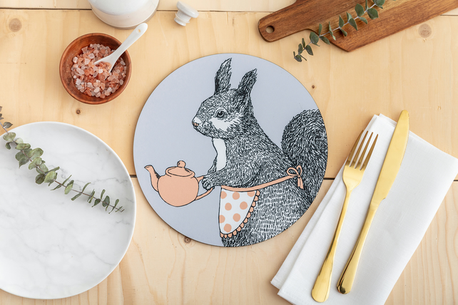 Tea Time Squirrel Placemat