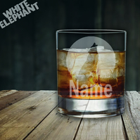 Laser Etched Personalised Howling Wolf Whiskey-Highball-Pint-Tankard Glass Gift