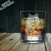 Laser Etched Personalised Wolf Whiskey-Highball-Pint-Tankard Glass Gift