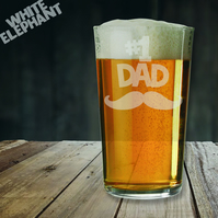 Laser Etched No.1 Dad Moustache Whiskey-Highball-Pint-Tankard Glass Gift