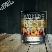 Laser Etched World's Best Mom Whiskey-Highball-Pint-Tankard Glass Gift