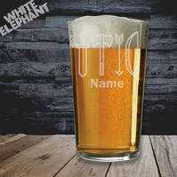 Laser Etched Personalised Sword, Axe, Arrow Whiskey-Highball-Pint-Tankard Glass