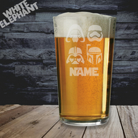 Laser Etched Personalised Star Wars Masks Whiskey-Highball-Pint-Tankard Glass