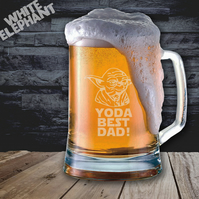 Laser Etched Star Wars Yoda Best Dad Whiskey-Highball-Pint-Tankard Glass