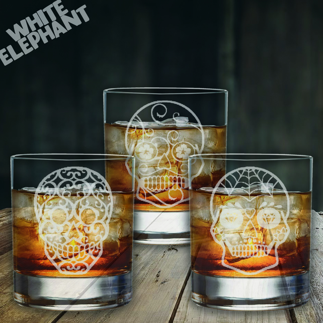 Laser Etched Sugar Skull 3 Whiskey-Highball-Pint Glass Set