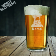 Laser Etched Personalised Homer Simpson Whiskey-Highball-Pint-Tankard Glass