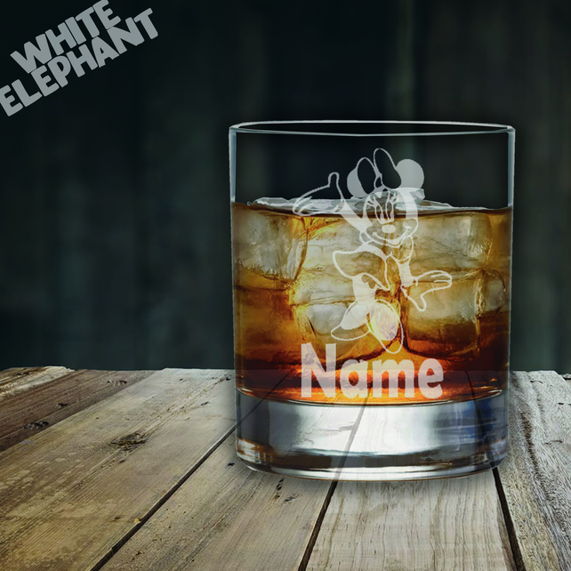Laser Etched Minnie Mouse Whiskey-Highball-Pint-Tankard Glass