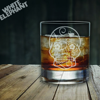 Laser Etched Sugar Skull Whiskey-Highball-Pint-Tankard Glass