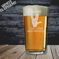 Laser Etched Live Long and Prosper Whiskey-Highball-Pint-Tankard Glass