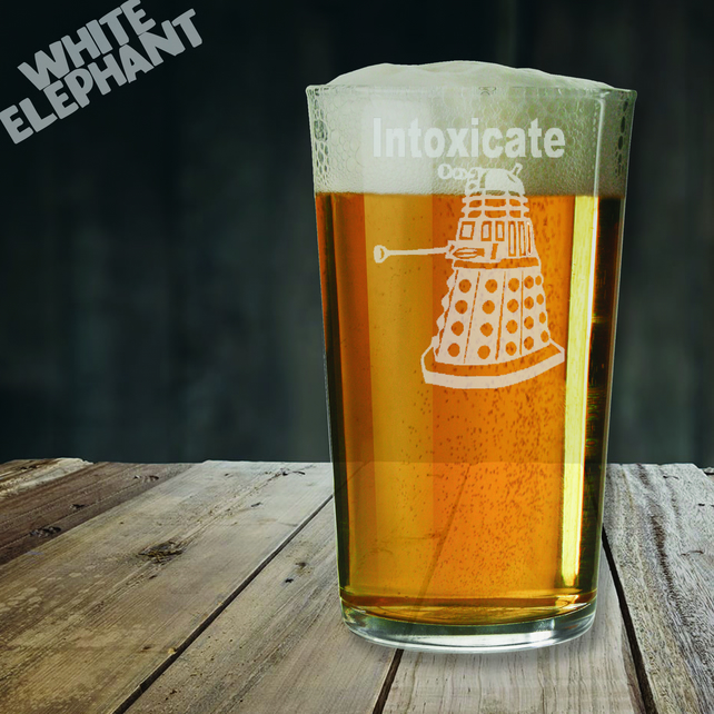 Laser Etched Dr Who Dalek Whiskey-Highball-Pint-Tankard Glass