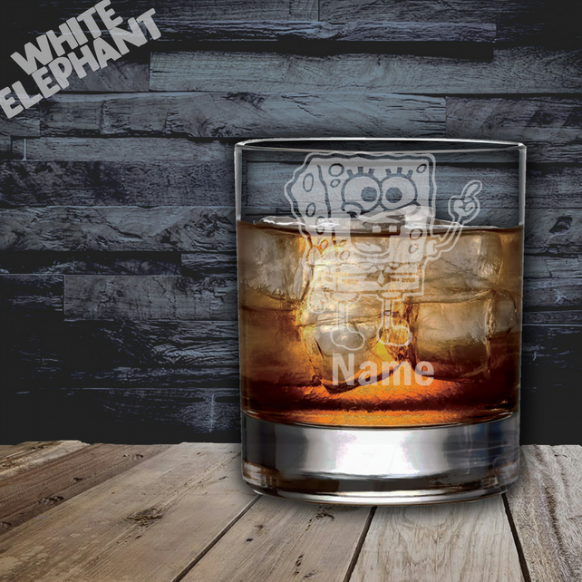 Laser Etched Personalised Spongebob Whiskey-Highball-Pint-Tankard Glass