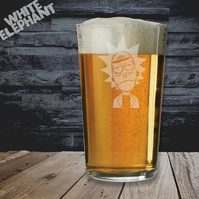 Laser Etched Rick & Morty Whiskey-Highball-Pint-Tankard Glass