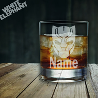 Laser Etched Black Panther Whiskey-Highball-Pint-Tankard Glass