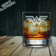 Laser Etched Personalised Wonder Woman DC Whiskey-Highball-Pint-Tankard Glass