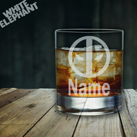 Laser Etched Personalised Deadpool Whiskey-Highball-Pint-Tankard Glass