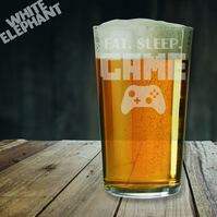 Laser Etched Eat Sleep Game Whiskey-Highball-Pint-Tankard Glass