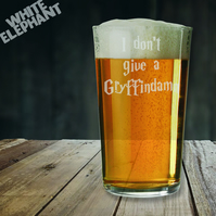 Laser Etched HP I don't Give a Gryffindamn Whiskey-Highball-Pint-Tankard Glass