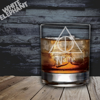 Laser Etched Personalised HP Deathly Hallows Whiskey-Highball-Pint-Tankard Glass