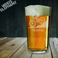 The Laser etched Personalised Mountain Biker Whiskey-Highball-Pint-Tankard Glass