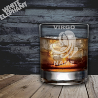 Laser Etched Personalised Zodiac Virgo Whiskey-Highball-Pint-Tankard Glass