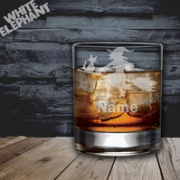 Laser Etched Personalised Witch Whiskey-Highball-Pint-Tankard Glass
