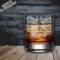 Laser Etched Personalised UK Flag Whiskey-Highball-Pint-Tankard Glass
