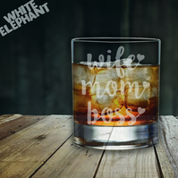Laser Etched Wife Mom Boss Whiskey-Highball-Pint-Tankard Glass