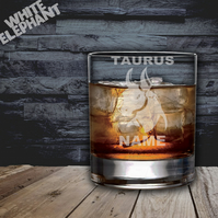 Laser Etched Personalised Zodiac Taurus Whiskey-Highball-Pint-Tankard Glass