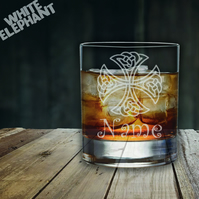 Laser Etched Personalised Celtic Cross Whiskey-Highball-Pint-Tankard Glass