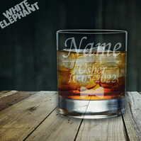 Laser Etched Personalised Usher Wedding Whiskey-Highball-Pint-Tankard Glass