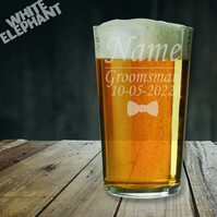 Laser Etched Personalised Groomsman Wedding Whiskey-Highball-Pint-Tankard Glass