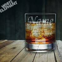Laser Etched Personalised Groom Wedding Whiskey-Highball-Pint-Tankard Glass