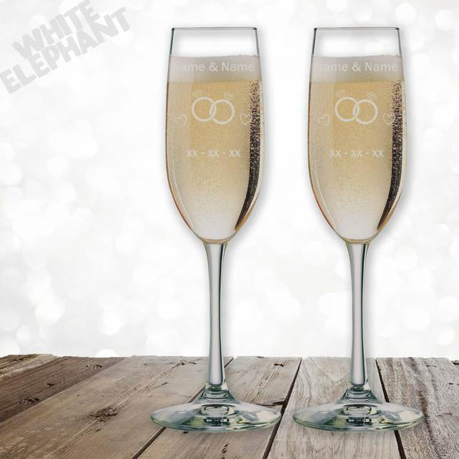 Laser Etched Personalised Bride, Groom Wedding Ring Champagne Flute Glass Gift