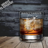 Laser Etched Personalised Zodiac Sagittarius Whiskey-Highball-Pint-Tankard Glass