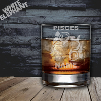 Laser Etched Personalised Zodiac Pisces Whiskey-Highball-Pint-Tankard Glass