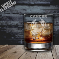 Laser Etched Personalised Zodiac Cancer Whiskey-Highball-Pint-Tankard Glass